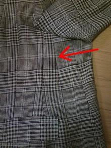 脇下にダーツを作って胸板の厚みを減らす